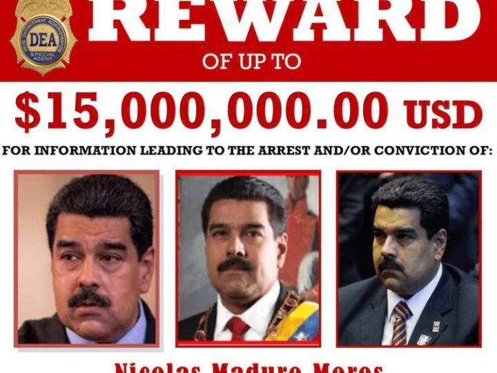 Estados Unidos acusa a Maduro de «narcoterrorismo» y ofrece U$D15 millones por datos que lleven a su arresto
